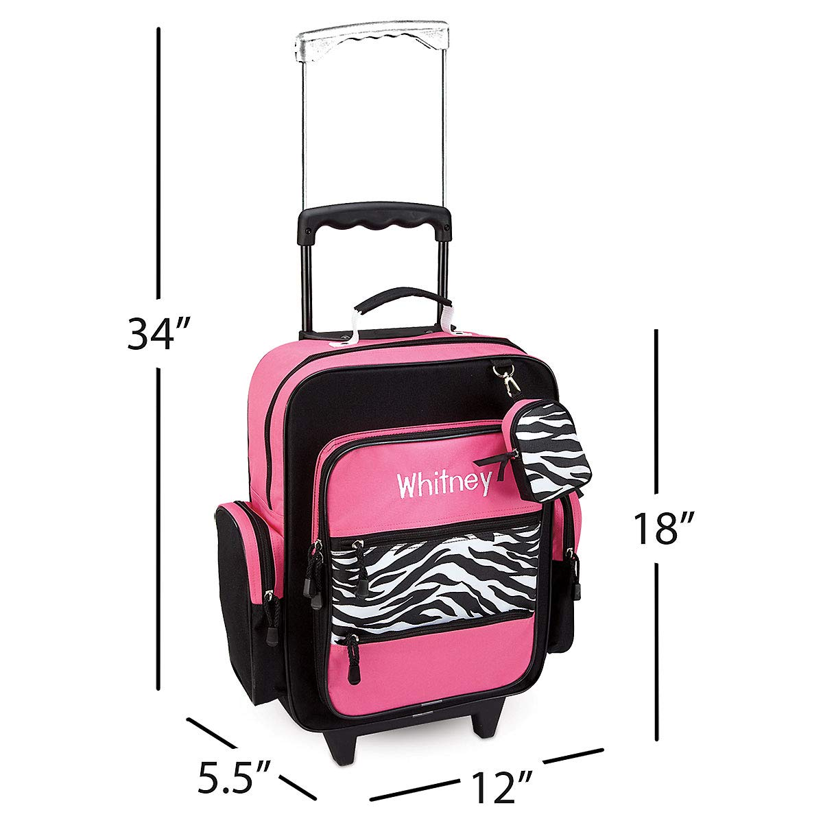 Hot Pink /& Zebra Print Design By Lillian Vernon 5 x 12 x 16.75H 808694E Personalized Rolling Luggage for Kids 5 x 12 x 16.75H