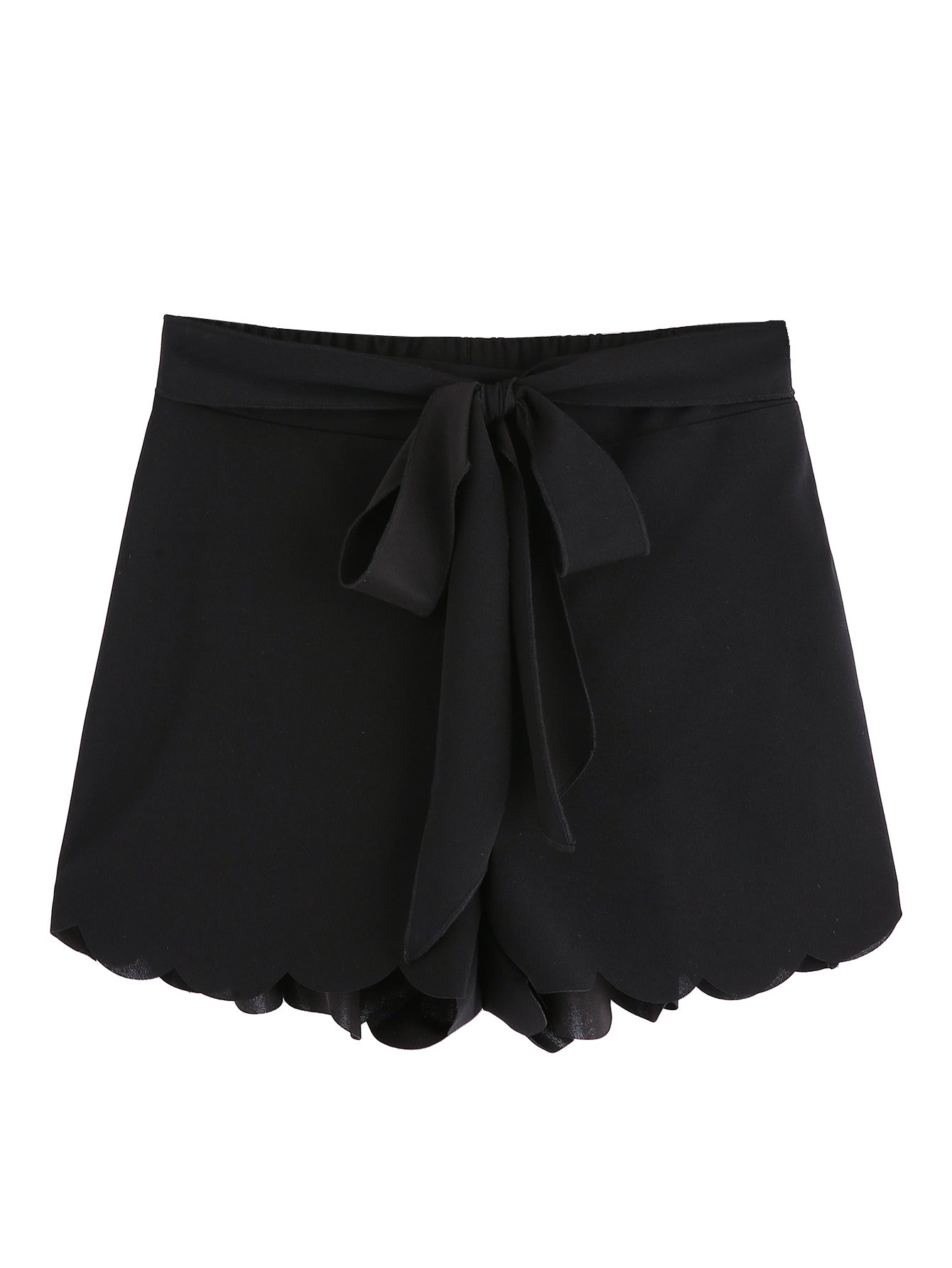 MakeMeChic Women's Casual Elastic Waist Scalloped Summer Shorts Black L