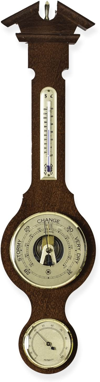 Bey-Berk Banjo Weather Station with Barometer, Thermometer and Hygrometer on Walnut Wood Base and Brass Accents from Bey-Berk Desk Weather Station, Black