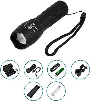 Linterna LED recargable USB de alta potencia. Flashlight táctica ...