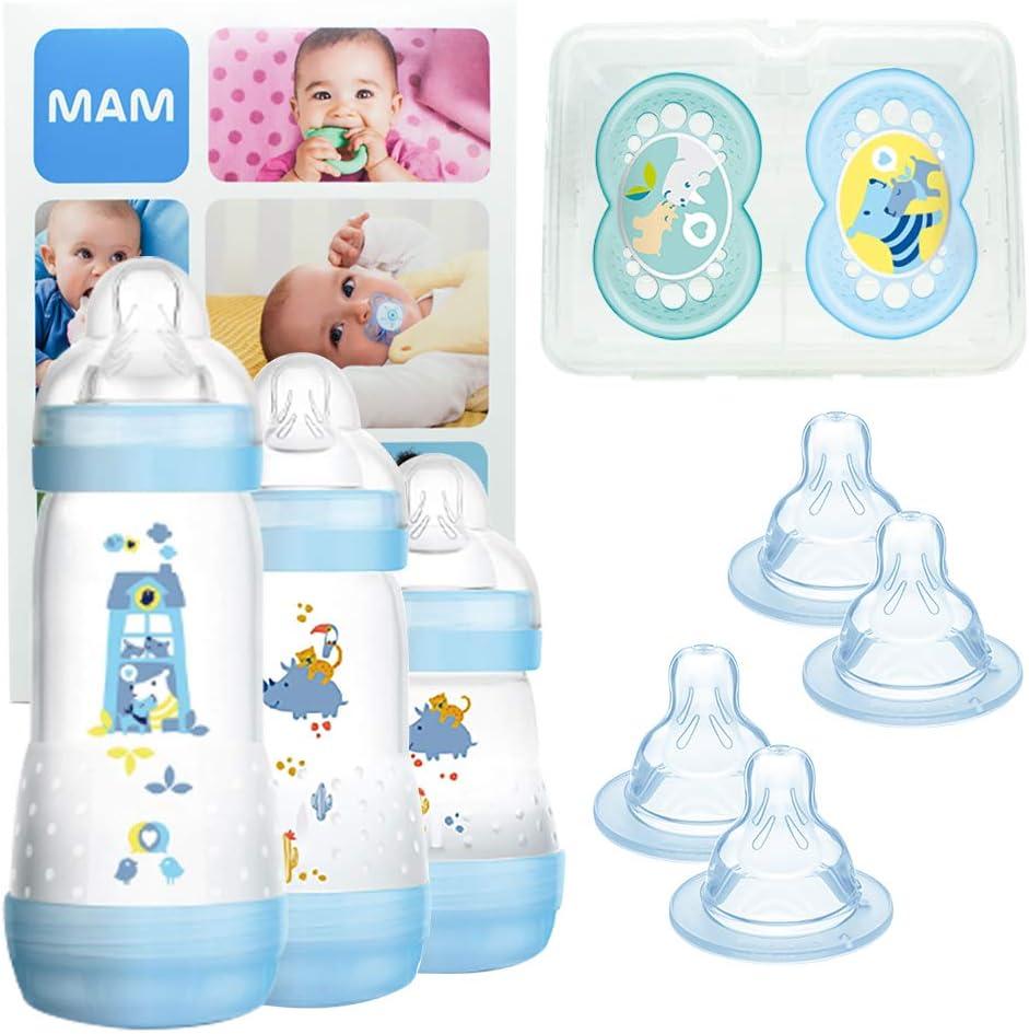 MAM Grow With Me Bottle Set, regalos para bebés, con 3 biberones anticólicos Easy Start (160/260/320 ml), 2 chupetes Original +6, 2 tetinas T3 y 2 TX, 2 meses, NIÑO (Boy)