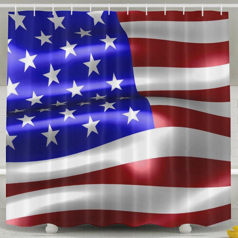 BINGO FLAG Funny Fabric Shower Curtain USA Flag Stars And Stripes Waterproof Bathroom Decor With Hooks 60 X 72 Inch by BINGO FLAG