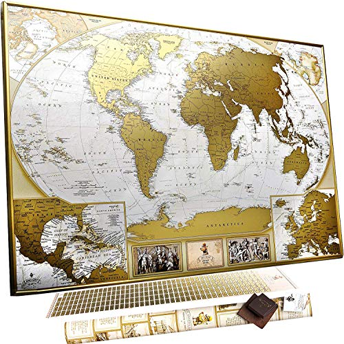 MyMap Antique Scratch Off map Large Gold World Map w/ EnLarge Europe and Caribbeans Map w USA States 35x25 inc Detailed Push Pin Travel Map Poster To Mark 10.000 Cities Anniversary Birthday Idea -