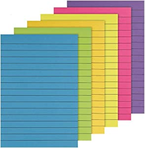 """BUBABOX 6-Pack Sticky Notes Colorful Lined Post Memos 4"""" x 6"""", Removable Self Super Sticking Power Sticky Notes Pad for Office,Home,School, 50 Sheet"""