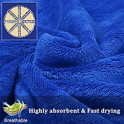 KinHwa Ultra Soft Microfiber Cleaning Car Drying Towel Large Absorbent Car Wash Towel Scratch Free Auto Detailing Towels 3 Pack (16Inchx24Inch, Blue): Automotive