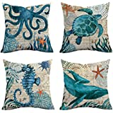 Square Pillow Cover Throw Pillow Case Ocean life Theme Decorative Cushion Cover Pillowcase Decoration for Sofa Bed Chair Car 45cm x 45cm Set of 4