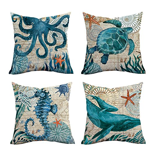Square Pillow Cover Throw Pillow Case Ocean life Theme Decorative Cushion Cover Pillowcase Decoration for Sofa Bed Chair Car 45cm x 45cm Set of ()