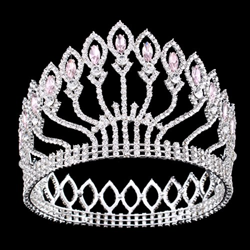 FUMUD Wedding Bridal Crystal Tiara Crowns Princess Queen Pageant Prom Rhinestone Silver Tiara Headband Wedding Hair Accessories (Pink)