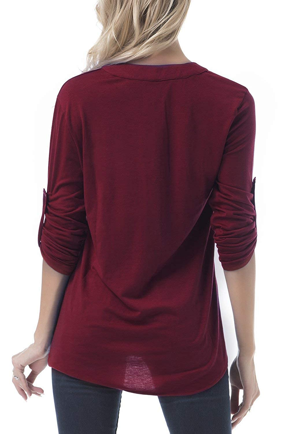 FISOUL Womens Long Sleeve Top Casual V Neck Roll-up Sleeve Zip up Blouse
