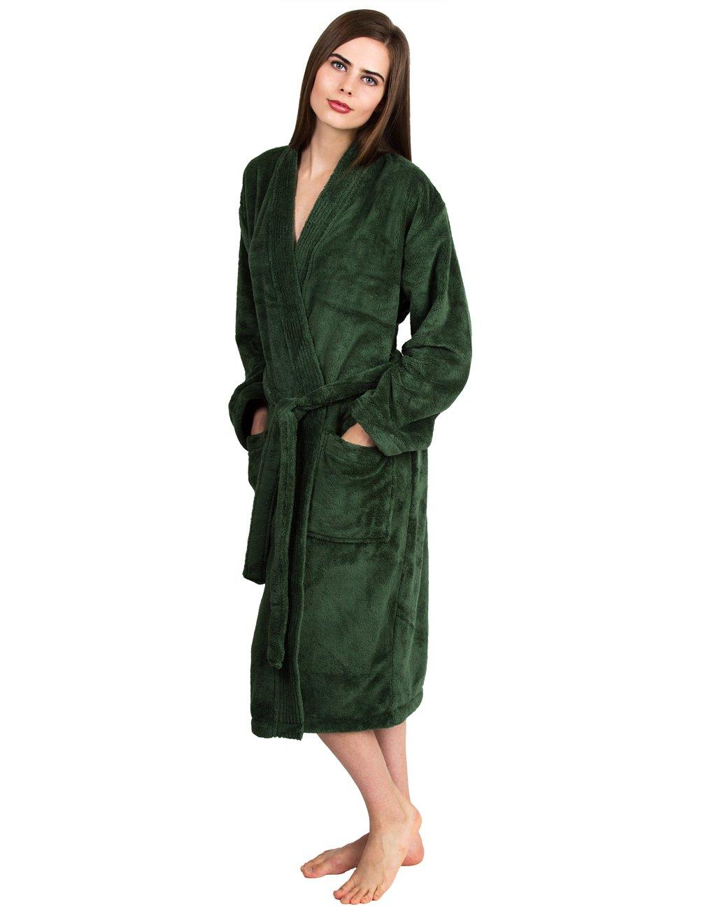 TowelSelections Women's Plush Robe Soft Fleece Kimono Bathrobe X-Small/Small Hunter Green