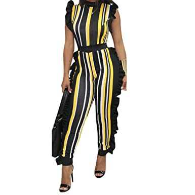 7d5dbe03f6 Uni Clau Women s Sleeveless Stripe Ruffle Bodycon Long Pants High Waist Party  Jumpsuits Romper Plus Size