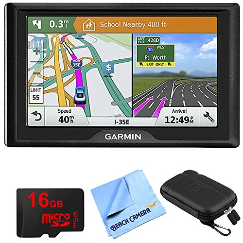 Price comparison product image Garmin Drive 51 LM GPS Navigator with Driver Alerts USA (010-01678-0B) 16GB Micro SD Memory Card,  1 Piece Micro Fiber Cloth & 5 inch Universal GPS Navigation Protect and Stow Case