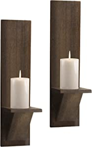 Wall Sconce Candle Holder Set of 2- Wall Mounted Wodden Candle Holders Rustic Wall Décor Floating Shelves Candle Flowers Vase Wall Shelf Bathroom Bedroom Living Room