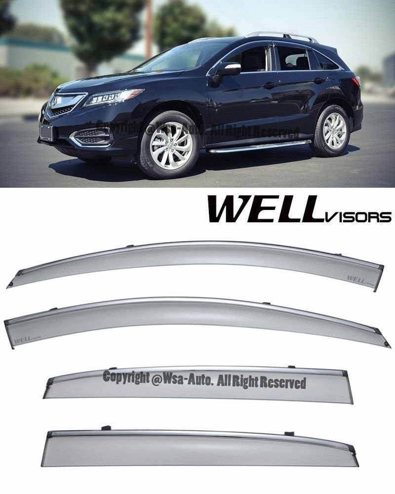 WellVisors Side Window Wind Deflector Visors - Acura RDX 2013 2014 2015 2016 with Chrome Trim