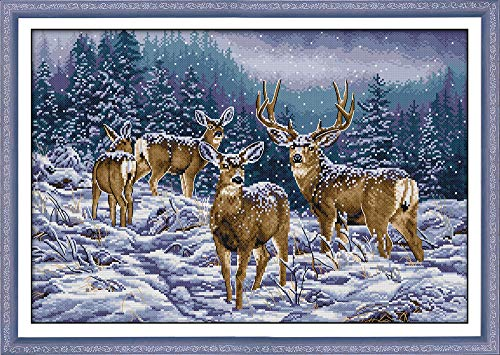 Cross Stitch Stamped Kits Cross-Stitching Accurate Pre-Printed Pattern for Adults- Winter Deer 11CT 27X 19, for Home Decor (Pattern Printed On Fabric)