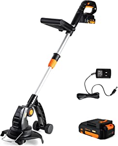 Heywork 20V Cordless Weed Eater String Trimmer/Edger 8000SPM Weed Wacker Cordless with 2.0Ah Li-ion Battery & Charger Included, Telescopic Shaft Handle Adjustable for Garden/Lawn/Flowerbeds Trimming