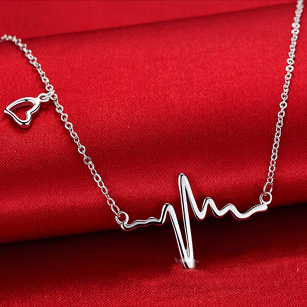 Collana girocollo in argento sterling 925 con ciondolo a forma di battito cardiaco di Silver Phantom Jewelry