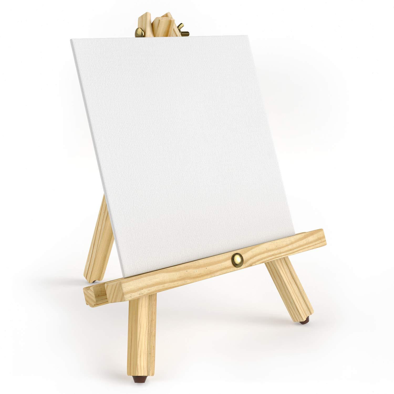 ARTEZA Cavalletto Pittura Treppiede, Set da 6 Legno di Pino Naturale con Gambe Antiscivolo Ideale come Supporto per Tele Piccole e Medie 30,5 cm