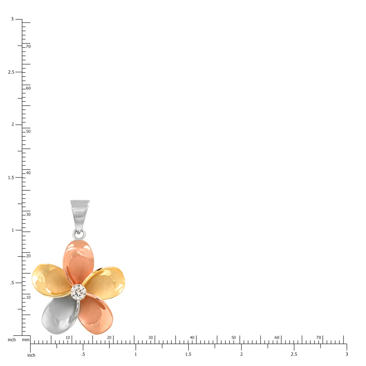 Honolulu Jewelry Company 14k Gold Tri-Color Plated Sterling Silver Plumeria CZ Necklace Pendant with 18 Box Chain
