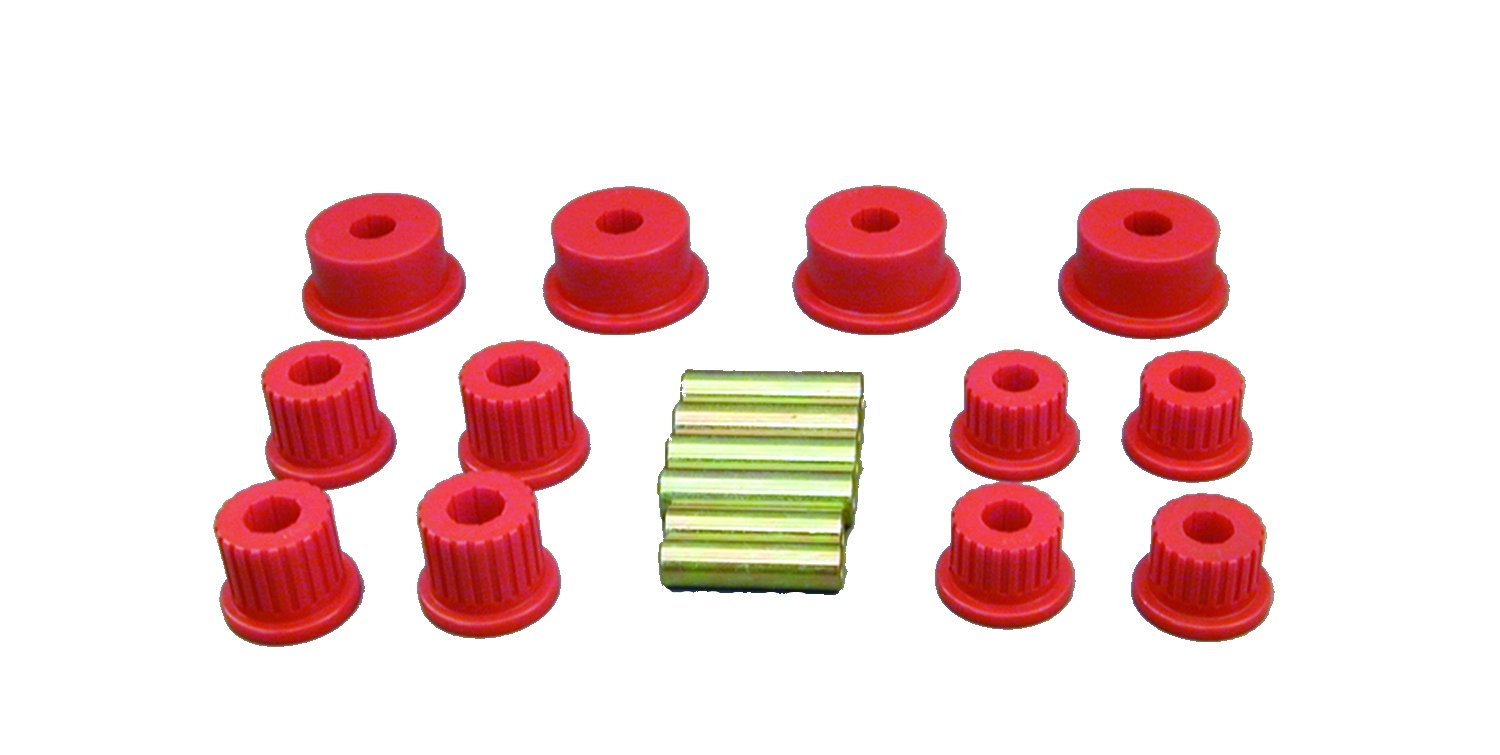 Prothane 4-1008 Red Rear Spring Eye and Shackle Bushing Kit