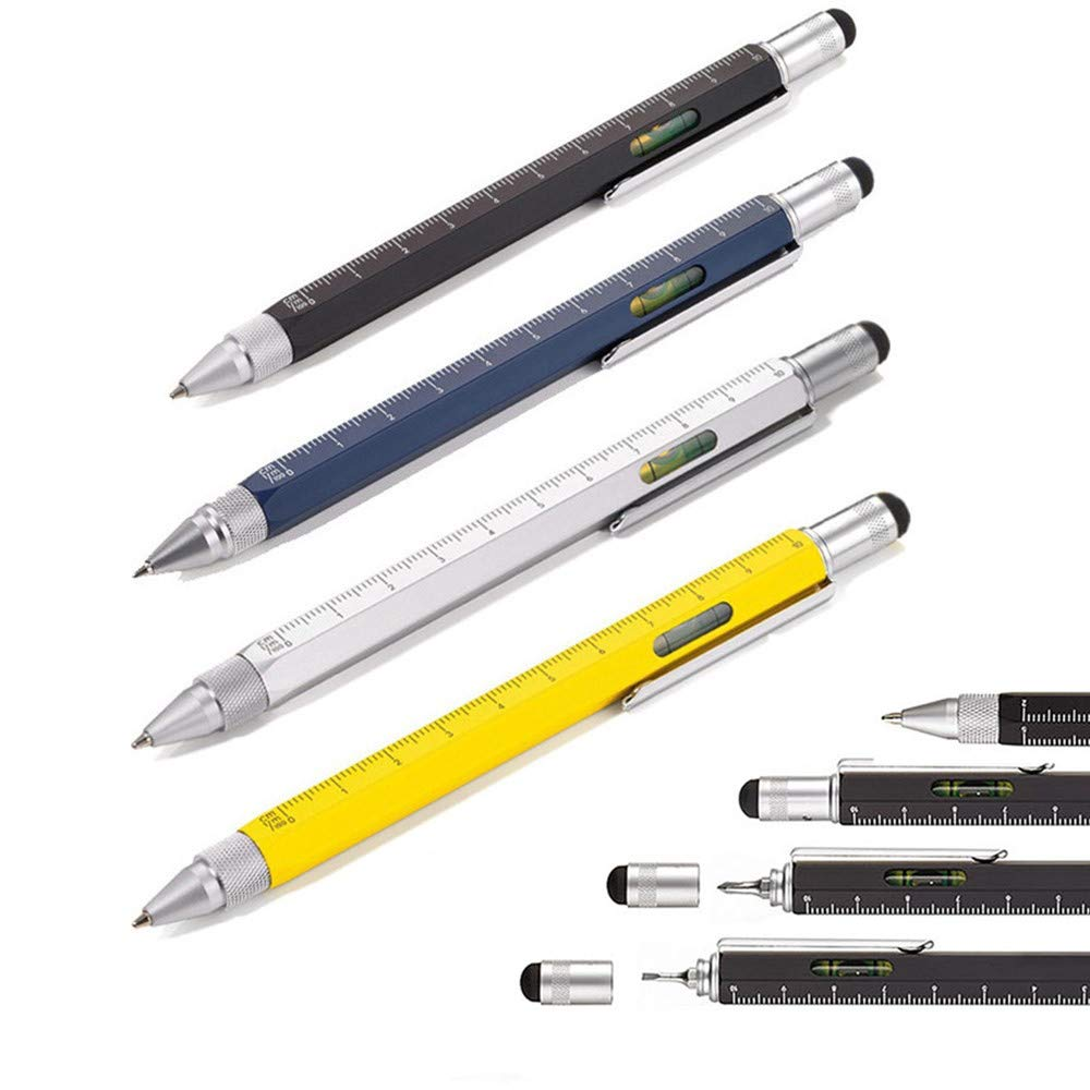 Stylus and 2 Screw Driver Ballpoint Pen 2 Silver Shulaner 7 in 1 Tech Tool Ballpiont Pen with Ruler Multifunction Tool Fit for Mens Gift Phone Stand Bottle Opener