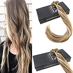Sunny 16inch U Tip Fusion Extensions Remy Human Hair Color Light Brown Highlight Blonde 1g/s Pre Bonded Nail Tip Human Hair Extensions 50g/Set