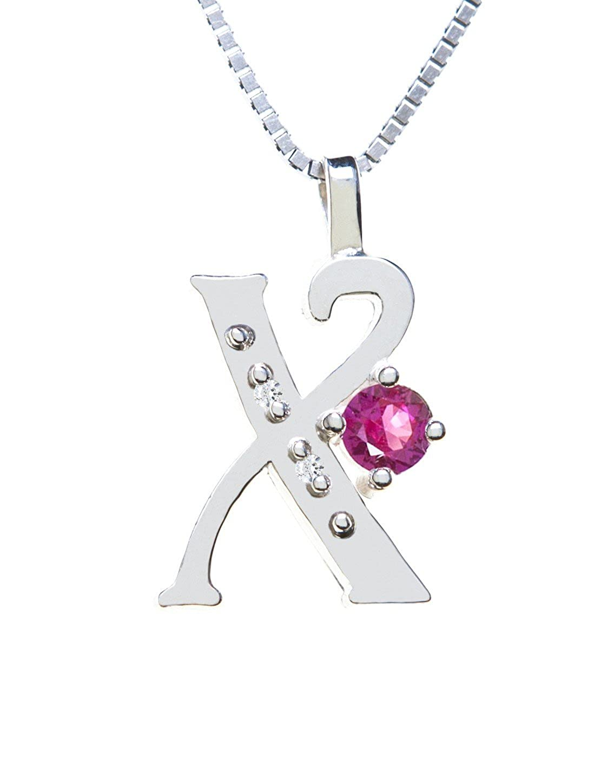 Sterling Silver Diamond Pendant Alphabet X