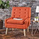 Eonna Buttoned Mid Century Modern Muted Orange Fabric Chair