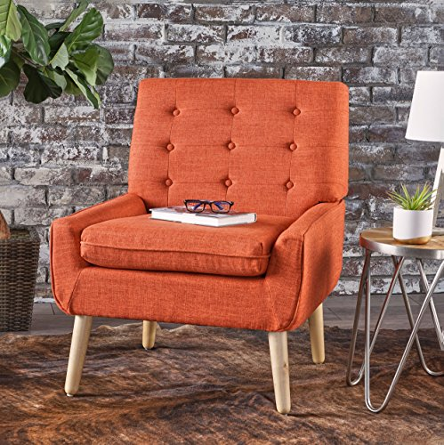 Cheap Eonna Buttoned Mid Century Modern Muted Orange Fabric Chair