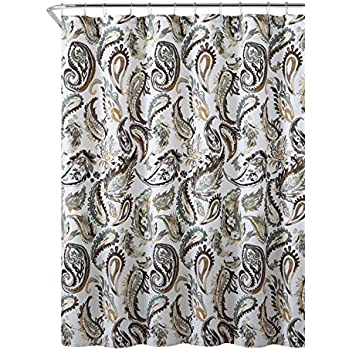 Decorative Brown Gold Green Fabric Shower Curtain Watercolor Floral Paisley Design 72 X Inch