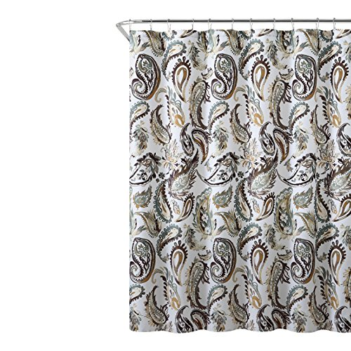 Hudson & Essex Decorative Brown Gold Green Fabric Shower Curtain: Watercolor Floral Paisley Design, 72