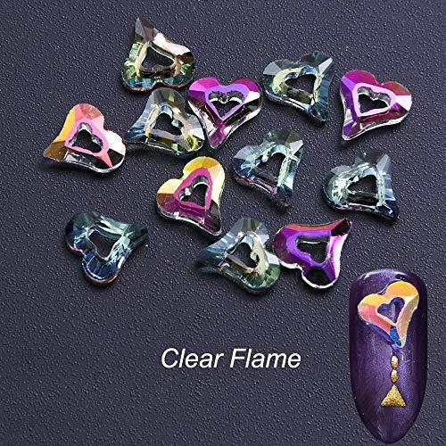 Playboy Crystal Heart - Aurora Glitter Chameleon Nail Crystal Heart Design Rhinestones Mermaid Flame (Size - Clear flame)