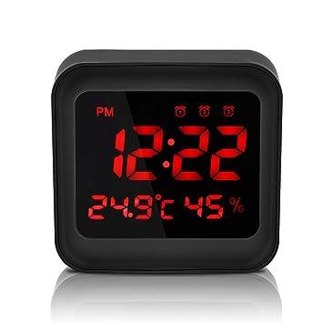 Welltop despertador digital con alarma de 3 juegos, pantalla ...
