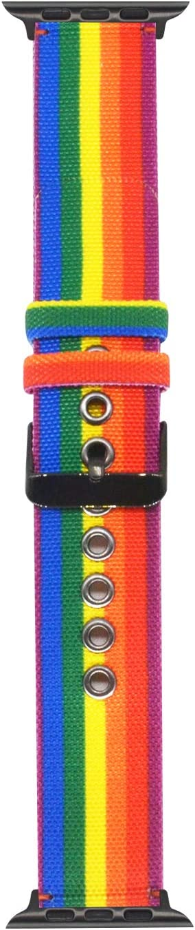 OMECKY Colorful Stripe Watch Strap Compatible with Apple Watch Rainbow Nylon Band, for iWatch Series 5/4 (40mm 44mm) Series 3/2/1 (38mm 42mm)