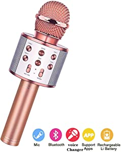 Wireless Bluetooth Karaoke Microphone,3 in 1 Portable Handheld Karaoke Mic Speaker Machine,Karaoke Machine for Kids,Home Party Singing Machine Microphone,Birthday Party,Best Gifts for Kids(Rose Gold)