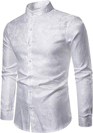 WHATLEES - Camisa asimétrica de satén con cuello alto y estampado de cachemira: Amazon.es: Ropa y accesorios