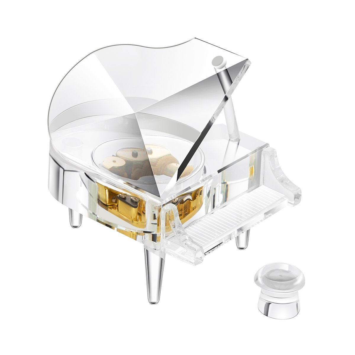 YWHL Crystal piano music box love story Gold Plated Windup Clockwork Mechanism home decor for woman