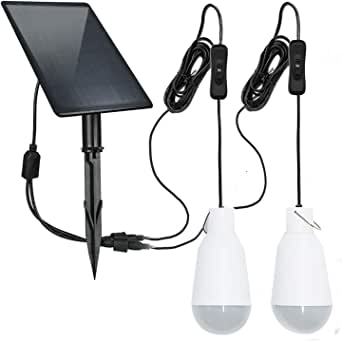 FEIFEIER Solar Light Blubs Portable 450LM Solar Shed Light , Solar Energy Lamp Lighting for Home Fishing Camping Emergency Tent Barn Chicken Coop (2Pcs 3W Led Bulbs)