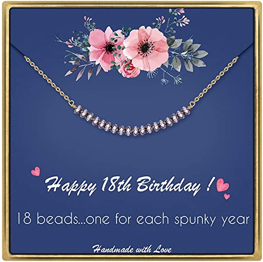 IEFLIFE 18th Birthday Gifts for Girls - Crystal Beads Necklace Girl Birthday Gifts Best Friend Birthday Gifts Beaded Bar Necklace 18 Year Old Girl Gifts Birthday Gifts for Sister, Daughter, Niece