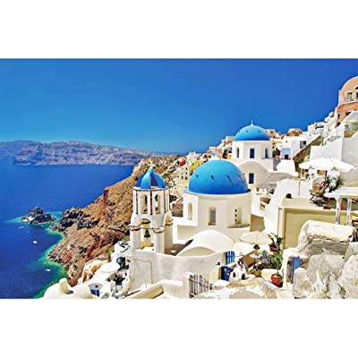 Tomppy Greek Mediterranean Architecture Puzzle, 1000 Piece Landscape Puzzles Premium Educational Toy: Toys & Games