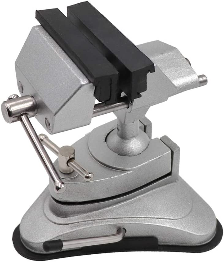 Mini Vacuum Base Vise Portable with 360°Swiveling Head and Powerful Suction Multi-Angle Pivoting Small Vice