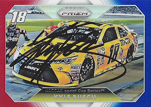 AUTOGRAPHED Kyle Busch 2016 Press Pass Prizm Racing PATRIOTIC PRIZM (Pit Crew Pit Stop) #18 M&Ms Team Joe Gibbs Toyota Sprint Cup Series Signed Collectible NASCAR Trading Card with - Ms Pit