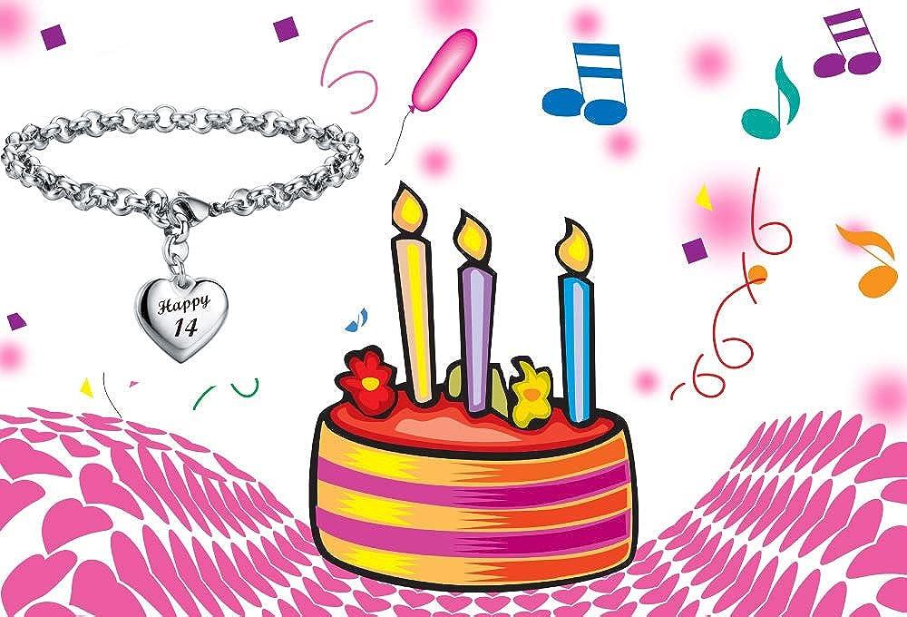 Sannyra Happy Birthday Gifts Bracelet Heart Charm Alphabet Bracelet Gift for Women Girls 11st 12th 13th 14th 15th 16th 17th 18th 19th 20th 21th 25th 30th