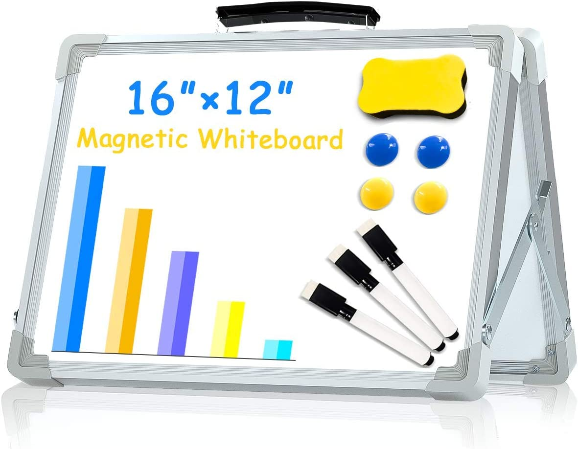 Small Dry Erase White Board,16X12Inches Portable Double-Sided Magnetic Whiteboard Foldable Desktop Board Easel for Kids&Home,Classroom,Office-White