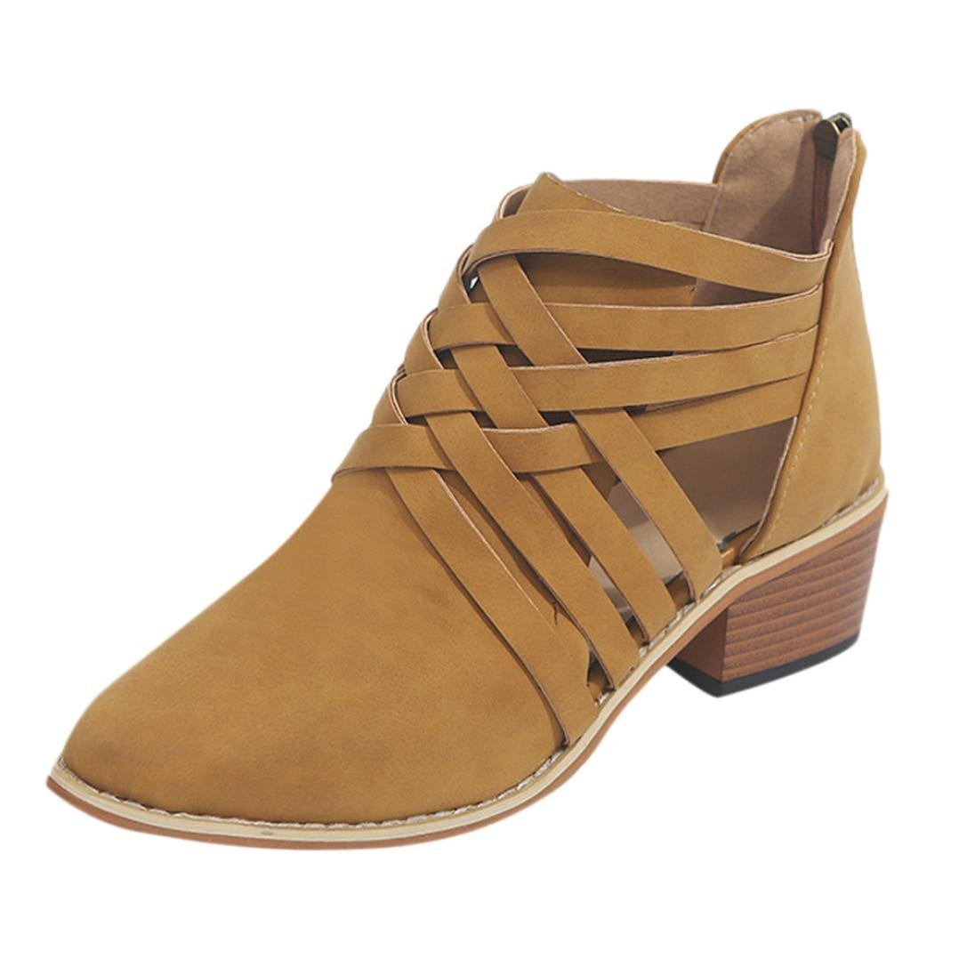 2018 Womens Girls Ankle Bootie 5.5-9.5,Wedges Block High Heel Zipper Pointed Toe Boots (Brown, US:6.5)