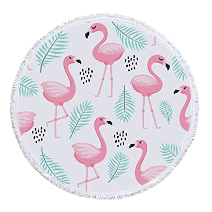 e7c96fdd1bf9f Image Unavailable. Image not available for. Color: BJHAP Round Beach Towel  with Tassels Cartoon Pink Flamingo Tropical Leaf Large ...