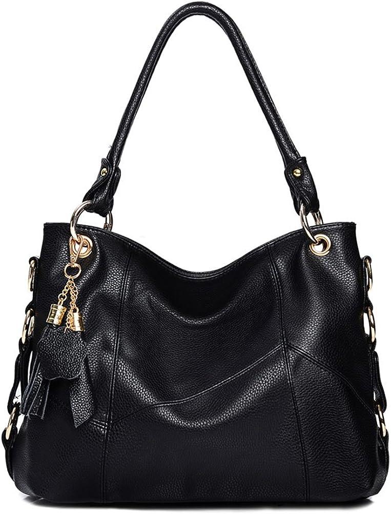 VintgaWomen's Leather Handbags Shoulder Tote Bag Top Handle Tassel Bags Ladies Purses Cross-body Bag