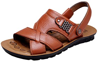 ccdd0dd00393c3 Vocni Men s Open Toe Casual Leather Comfort Shoes Sandals -Yellow Brown EU  39-6.5