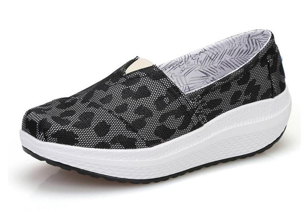 XIE Primavera Y Verano Señoras Tacones De Cuña Sacudir Zapatos De Malla Respirable De Ocio Deportiva Zapatos Mujer Único Zapatos, 1708-2 Black, 38 38|1708-2 black