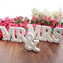 DGQ MR & MRS White Wooden Letters for Wedding Decoration Present, Table Top Decoration